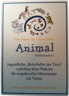 Animal Ambassadors Auszeichnung